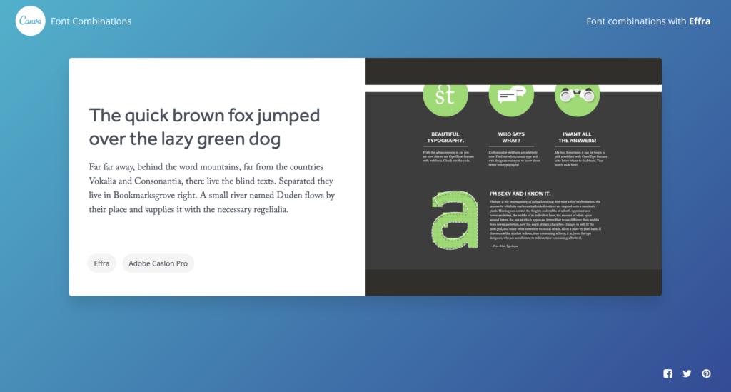 canva font combinations outil typographique pour présentation powerpoint exemple