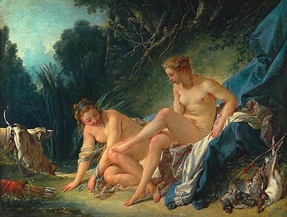 François Boucher, Diane sortant du bain, 1742 pour illustrer le Discours sur les sciences et les arts de Rousseau
