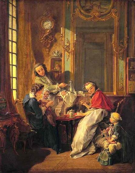 Tableau de François Boucher pour illustrer les propos du Discours sur les sciences et les arts de Rousseau